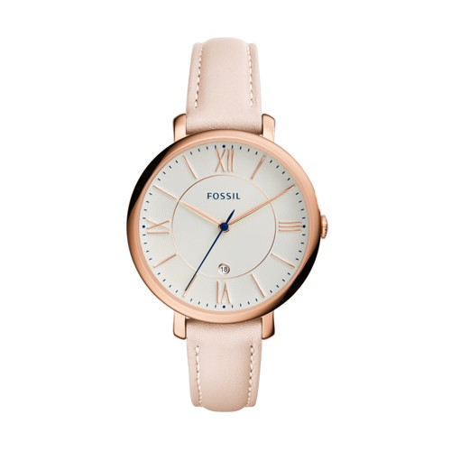 Fossil Jacqueline Date Blush Leather Watch ES3988