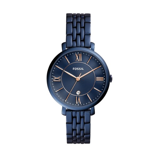 Jacqueline Three-Hand Date Blue Stainless Steel Watch ES4094