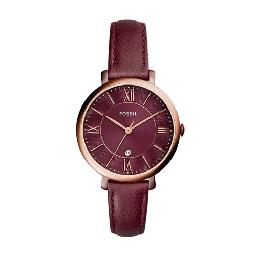Fossil Jacqueline Three-Hand Date Wine Leather Watch ES4099