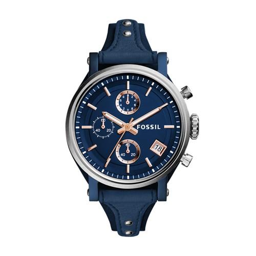 Fossil Original Boyfriend Sport Chronograph Blue Leather Watch Es4113