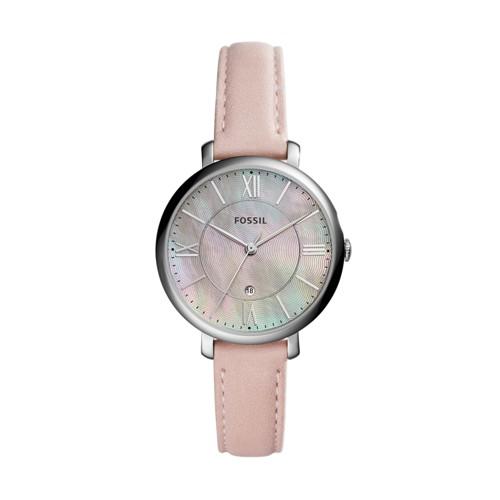 Jacqueline Three-Hand Date Blush Leather Watch ES4151