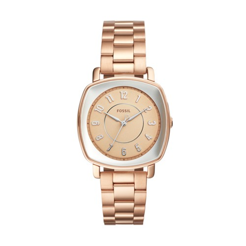 Fossil Idealist Three-Hand Rose Gold-Tone Stainless Steel Watch Es4195