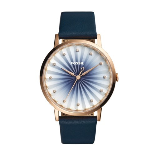 Fossil Vintage Muse Three-Hand Navy Leather Watch Es4198