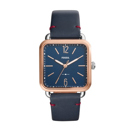 Fossil Micah Three-Hand Navy Leather Watch ES4251