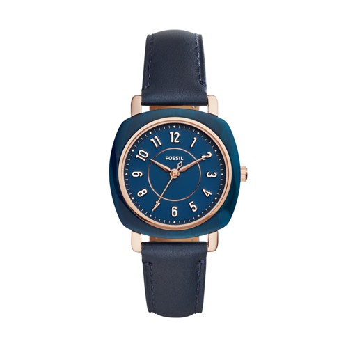 Fossil Idealist Three-Hand Navy Leather Watch ES4280