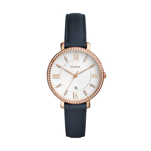 Jacqueline Three-Hand Date Navy Leather Watch ES4291