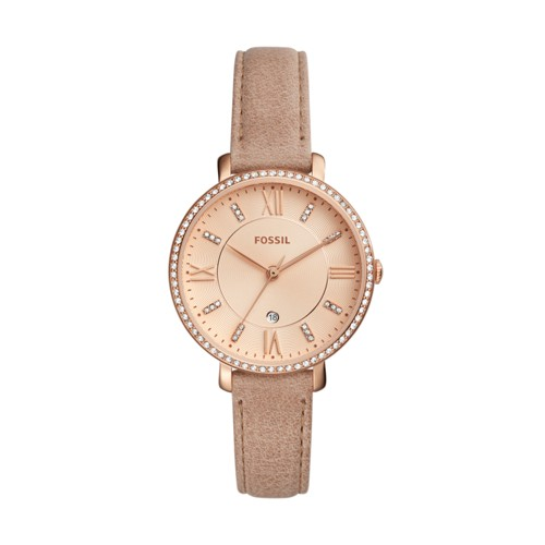 Fossil Jacqueline Three-Hand Date Sand Leather Watch Es4292 Pink