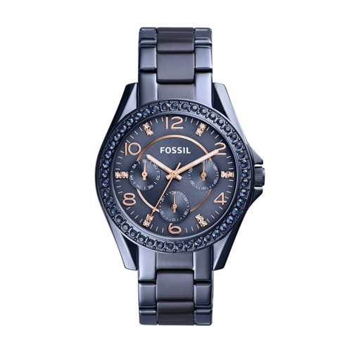 Fossil Riley Multifunction Blue Stainless Steel Watch ES4294