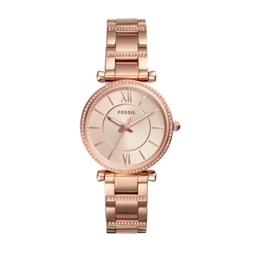 Fossil Carlie Three-Hand Rose Gold-Tone Stainless Steel Watch ES4301