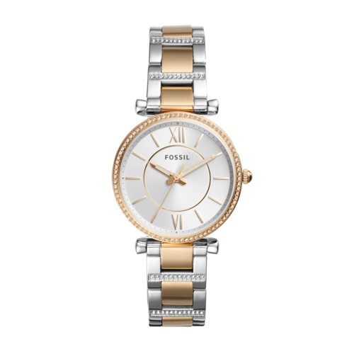 Fossil Carlie Three-Hand Two-Tone Stainless Steel Watch ES4302