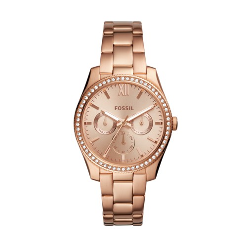 Fossil Scarlette Multifunction Rose Gold-Tone Stainless Steel Watch Es4315