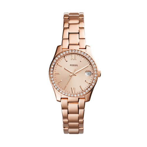 Fossil Scarlette Mini Three-Hand Date Rose Gold-Tone Stainless Steel Watch ES4318