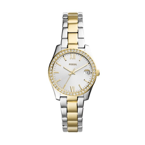 Fossil Scarlette Mini Three-Hand Date Two Tone Stainless Steel Watch ES4319