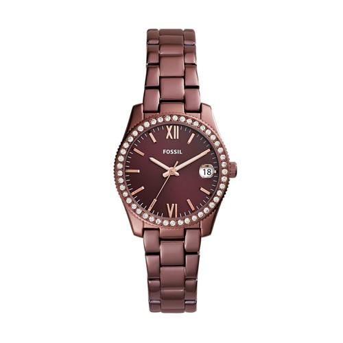 Fossil Scarlette Three-Hand Date Wine Stainless Steel Watch ES4320