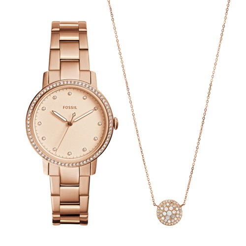 Fossil Neely Three-Hand Rose Gold-Tone Stainless Steel Watch And Jewelry Box Set Es4330set