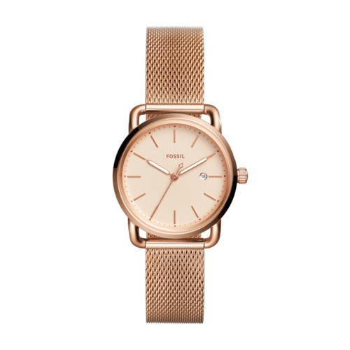 Fossil The Commuter Three-Hand Date Rose Gold-Tone Stainless Steel Watch ES4333