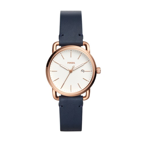 Fossil The Commuter Three-Hand Date Navy Leather Watch Es4334