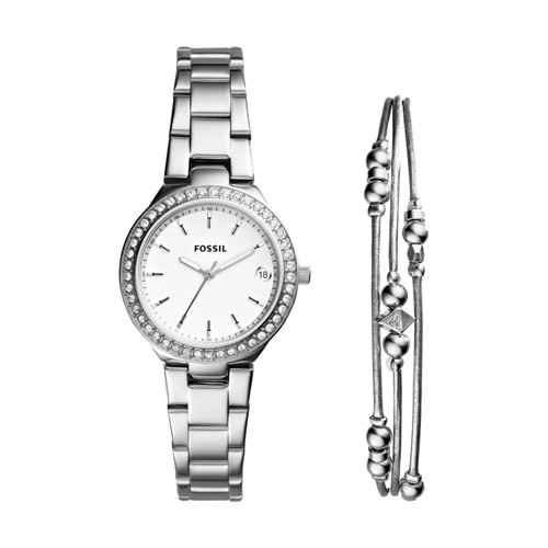 Fossil Blane Three-Hand Stainless Steel Watch and Jewelry Gift Set ES4336SET