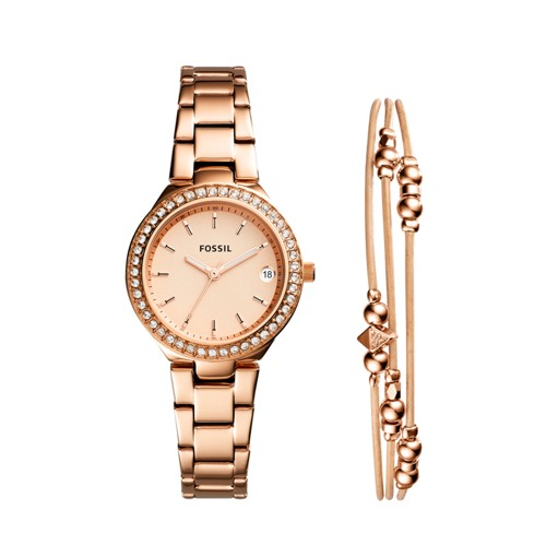 Fossil Blane Three-Hand Rose Gold-Tone Stainless Steel Watch and Jewelry Gift Set ES4337SET