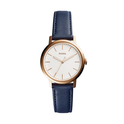 Fossil Neely Three-Hand Navy Blue Leather Watch ES4338
