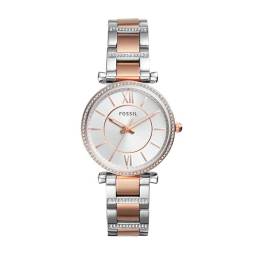 Fossil Carlie Three-Hand Two-Tone Stainless Steel Watch ES4342