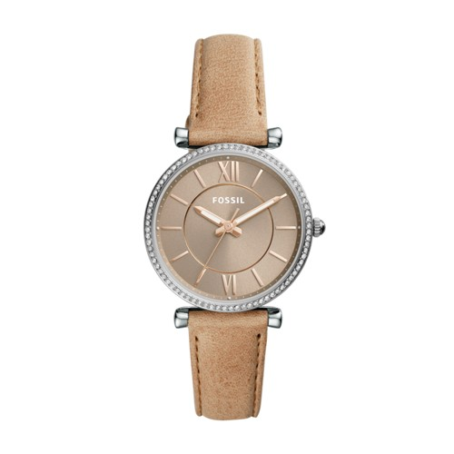 Fossil Carlie Three-Hand Sand Leather Watch  Jewelry