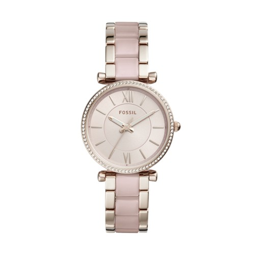 Fossil Carlie Three-Hand Two-Tone Acetate and Stainless Steel Watch ES4346