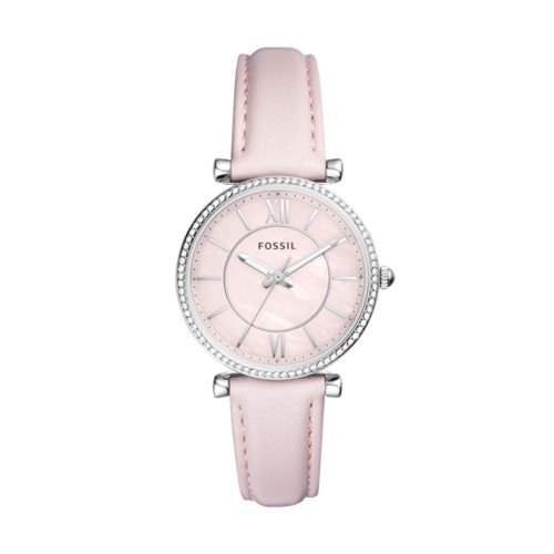 Fossil Carlie Three-Hand Pastel Pink Leather Watch ES4347