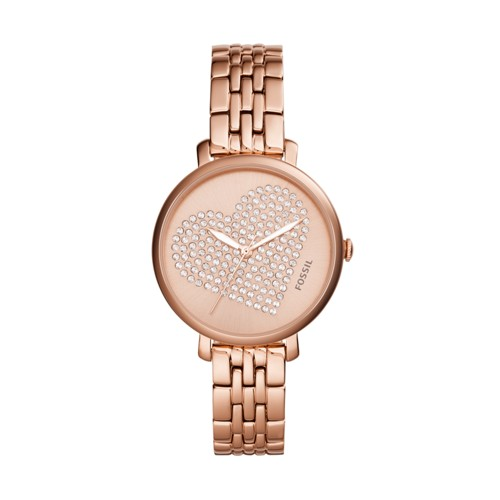Fossil Jacqueline Three-Hand Rose Gold-Tone Stainless Steel Watch Es4350