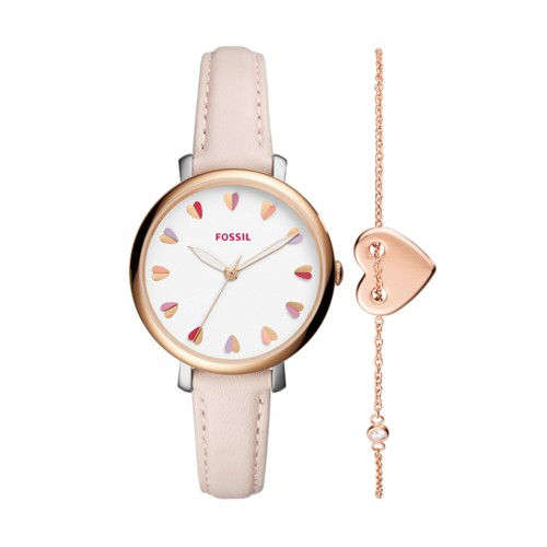Fossil Jacqueline Three-Hand Pastel Pink Leather Watch And Jewelry Box Set E..