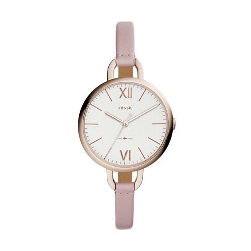 Fossil Annette Three-Hand Pastel Pink Leather Watch ES4356