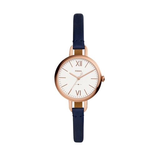 Fossil Annette Three-Hand Navy Leather Watch ES4359