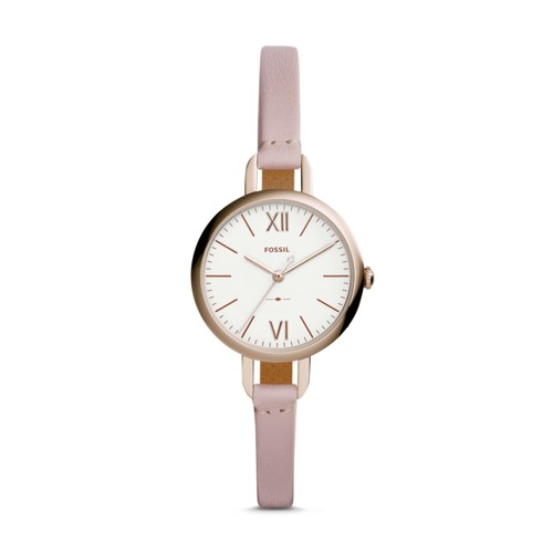 Fossil Annette Three-Hand Pastel Pink Leather Watch ES4360
