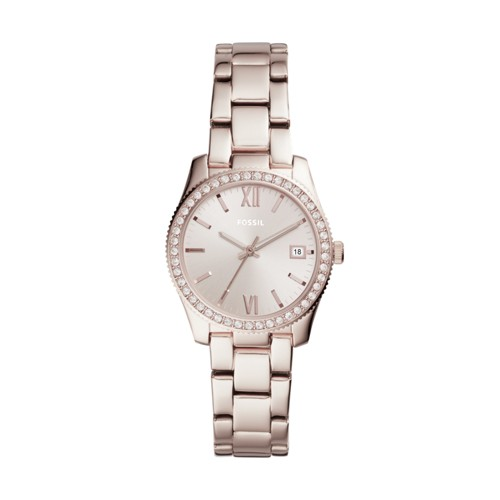 Fossil Scarlette Three-Hand Date Pastel Pink Stainless Steel Watch Es4363
