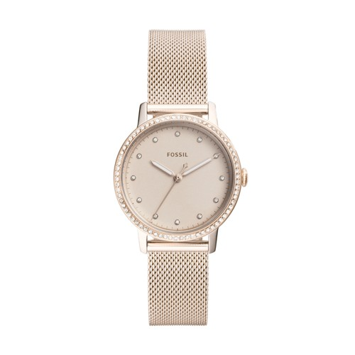 Fossil Neely Three-Hand Pastel Pink Stainless Steel Watch ES4364