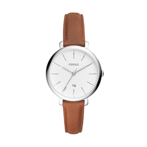 Jacqueline Three-Hand Date Brown Leather Watch ES4368