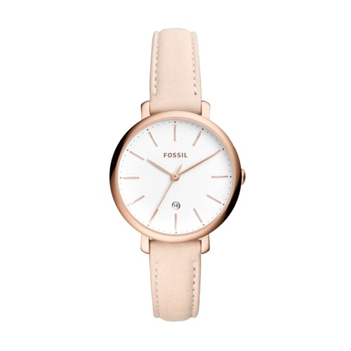 Jacqueline Three-Hand Date Pastel Pink Leather Watch ES4369