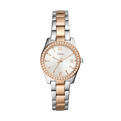 Fossil Scarlette Mini Three-Hand Date Two-Tone Stainless Steel Watch ES4372