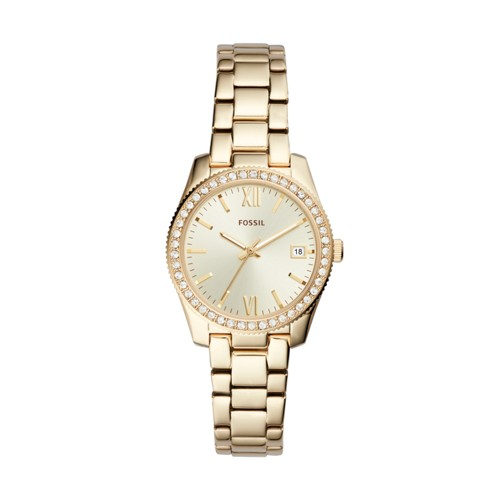 Fossil Scarlette Mini Three-Hand Date Gold-Tone Stainless Steel Watch ES4374