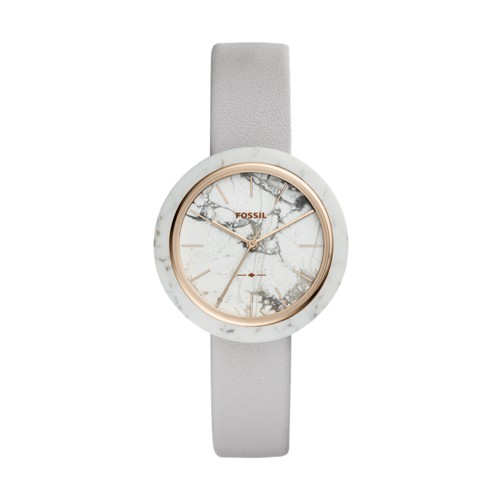 Fossil Camille Three-Hand Mineral Gray Leather Watch ES4381