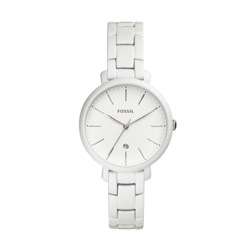 Fossil Jacqueline Three-Hand Date Pearl-White Stainless Steel Watch ES4397