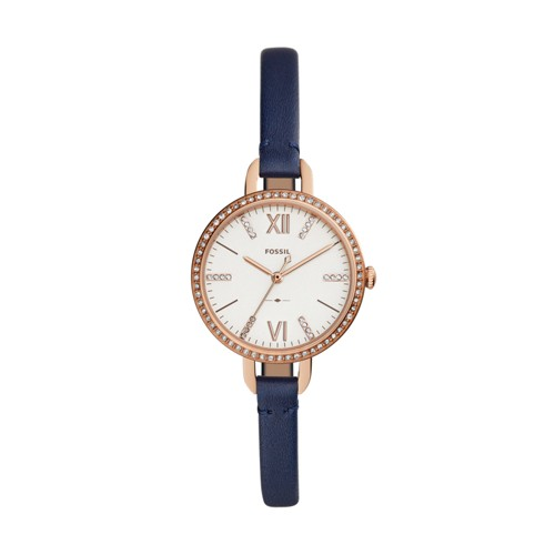 Fossil Annette Three-Hand Navy Leather Watch ES4403