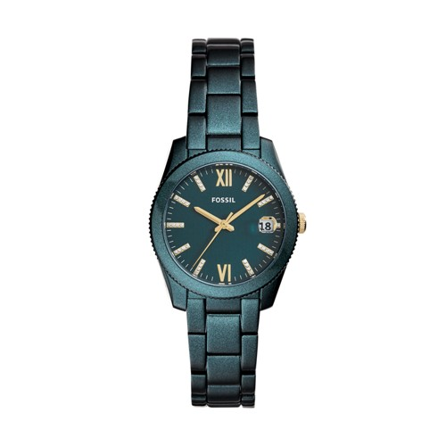 Fossil Scarlette Mini Three-Hand Date Teal Green Stainless Steel Watch ES4408