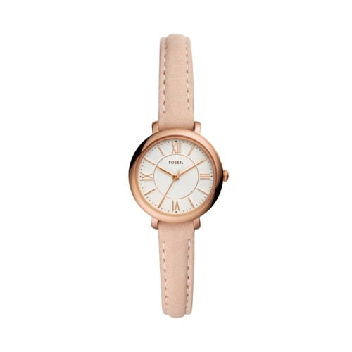 Jacqueline Mini Three-Hand Blush Leather Watch ES4411