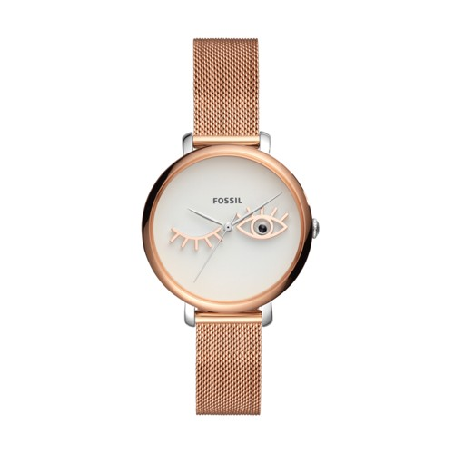 Fossil Jacqueline Wink Eye Three-Hand Rose Gold-Tone Stainless Steel Watch ES4414