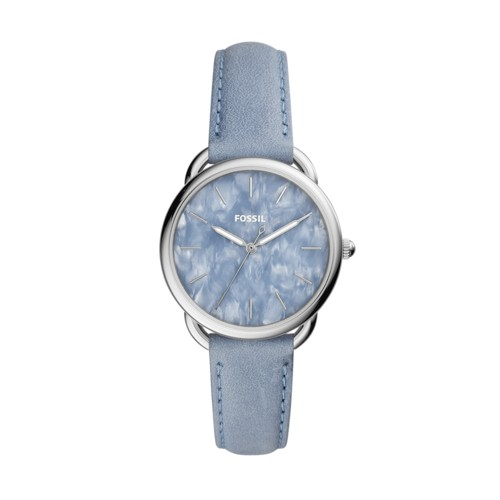 Fossil Tailor Three-Hand Powder Blue Leather Watch ES4418