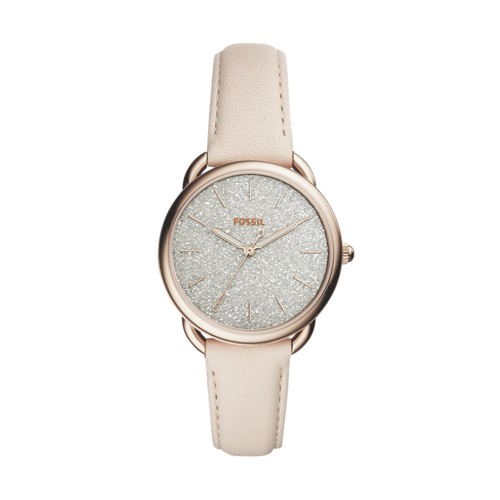 Fossil Tailor Three-Hand Winter White Leather Watch ES4421