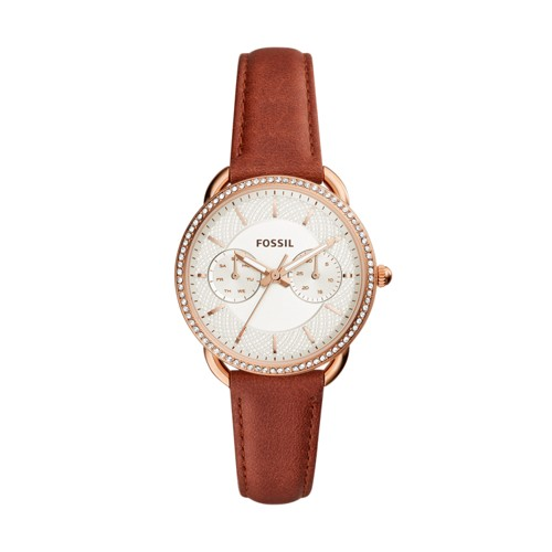 Fossil Tailor Multifunction Terracotta Leather Watch ES4422