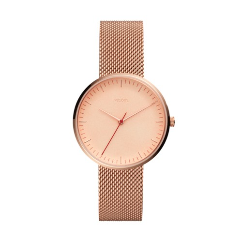Fossil Essentialist Three-Hand Rose Gold-Tone Stainless Steel Watch ES4425