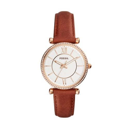 Fossil Carlie Three-Hand Terracotta Leather Watch ES4428